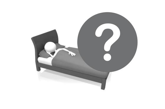 bed met vraagteken slapeloosheid