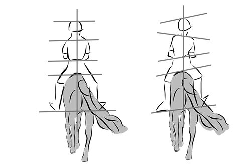 symmetrie bij ruiter te paard